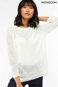 Monsoon Cream Cindy Ribbed Jumper
