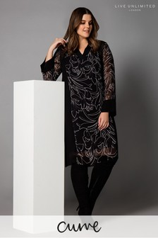 Live Unlimited Black Floral Dress With Grosgrain Detail