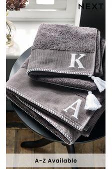 Grey Alphabet Hand Towel