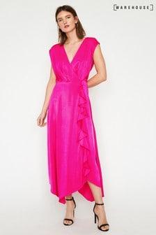 Warehouse Pink Cowl Back Satin Dress