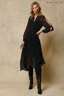 Mint Velvet Black Willa Spot Midi Shirt Dress