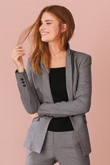 Sharkskin Single Breasted Tailored Jacket