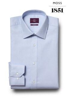 Moss Esq Regular Fit Sky Single Cuff Dobby Non Iron Shirt