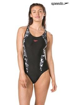 Speedo® Black Printed Laneback Swimsuit