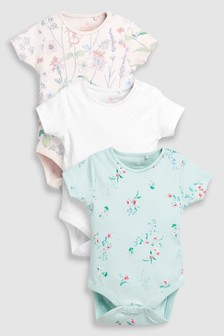 Floral Short Sleeve Bodysuits Three Pack (0mths-2yrs)
