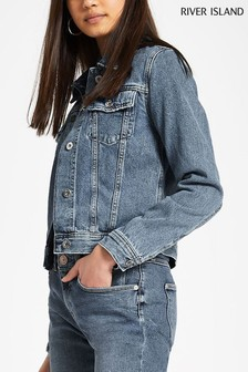 River Island Mid Wash Fitted Denim Jacket