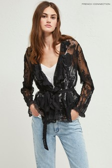French Connection Black Elayna Lace Waterfall Jacket