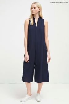 French Connection Navy V-Neck Sleeveless Jumpsuit