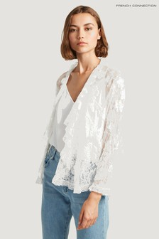 French Connection White Elayna Lace Waterfall Jacket