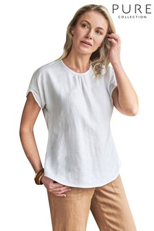 Pure Collection White Laundered Linen Gathered Sleeve Top