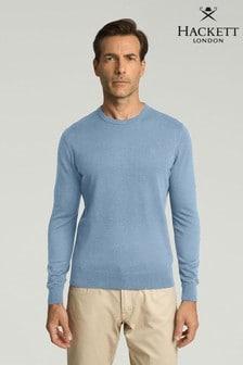 Hackett Blue Cotton Silk Crew Knitwear Jumper