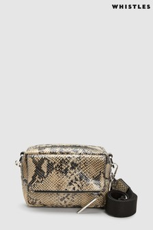 Whistles Black Snake Print Bibi Cross Body Bag 45aa725657933