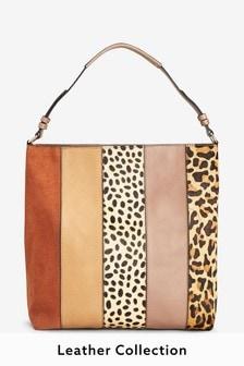 Leather Colourblock Hobo Bag