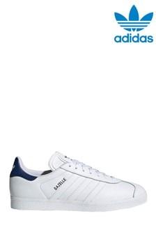 adidas Originals White/Navy Gazelle Trainers