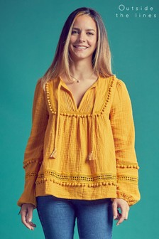 Outside The Lines Ochre Pom Pom Smock Blouse