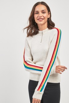 Rainbow Sleeve Zip Neck Sweater
