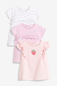 Strawberry Frill T-Shirts Three Pack (0mths-2yrs)