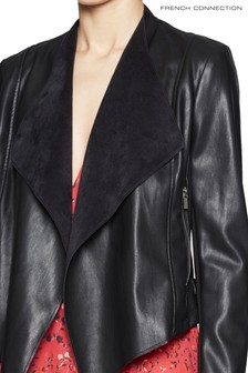 French Connection Black Stephanie PU Waterfall Front Jacket
