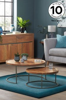 Amsterdam Acacia Wood Round Coffee Nest of Tables