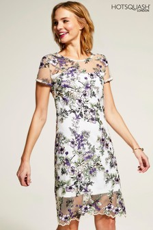 HotSquash Cream Embroidered Cap Sleeve Party Dress