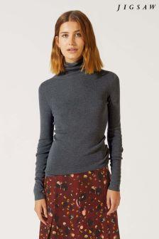 Jigsaw Grey Silk Cotton Polo Neck Sweater