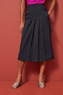 Side Pleat Midi Skirt