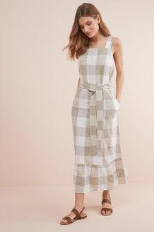 Linen Blend Ruffle Detail Dress