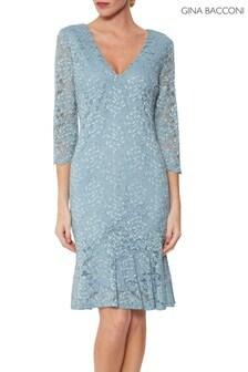Gina Bacconi Blue Nadalie Stretch Lace Dress