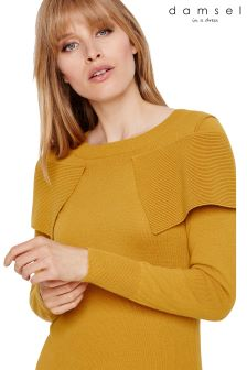 Damsel In A Dress Yellow Agnes Foldover Knitted Jumper