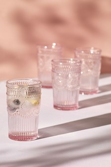 Set of 4 Pressed High Ball Glasses
