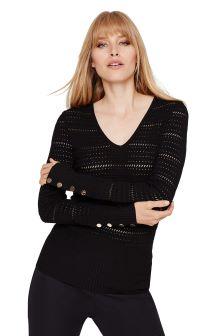 Damsel In A Dress Black Holly Pointelle Knit Jumper