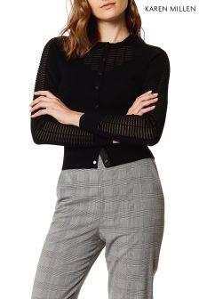 Karen Millen Black Sheer Panel Grid Knit Jumper