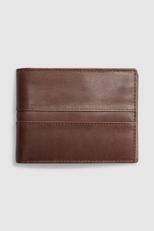 Leather Bifold Wallet with Internal Zip Pocket