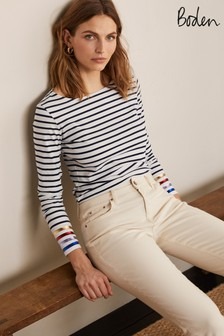 Boden Blue Long Sleeve Breton T-Shirt