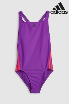 adidas Purple/Pink 3 Stripe Swimsuit