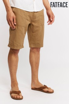 FatFace Natural Linen Cotton Flat Front Short