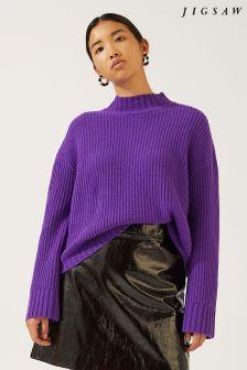 Jigsaw Purple Wide Sleeve Rib Jumper