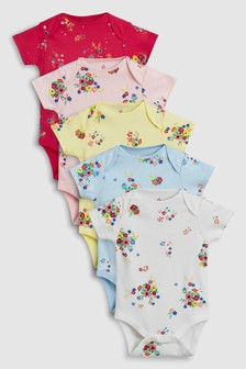 Multi Floral Short Sleeve Bodysuits Five Pack (0mths-2yrs)