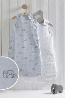 2 Pack Blue Elephant & Stars 2.5 Tog Sleep Bags