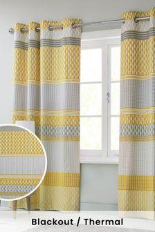 Mini Geo Stripe Eyelet Blackout/Thermal Curtains