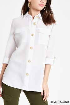 River Island White Long Sleeve Rochelle Boyfriend Shirt