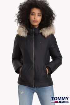 Tommy Jeans Black Hooded Down Jacket