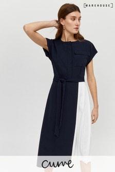 Warehouse Black Pleated Shirt Dress