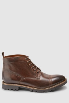 Toe Cap Lace-Up Boot