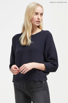 French Connection Navy Pleated Waist Jumper