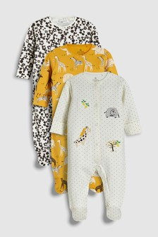 Animal Embroidery Sleepsuits Three Pack (0mths-2yrs)