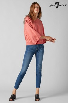 7 For All Mankind Mid Blue Cropped Skinny Jean