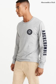 Abercrombie & Fitch Grey Long Sleeve Appliqué Tee