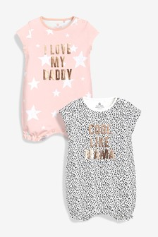 Mummy And Daddy Slogan Rompers Two Pack (0mths-2yrs)