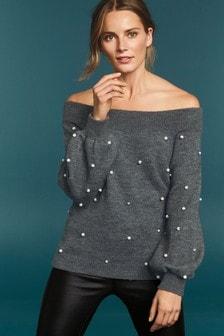 Pearl Embellished Bardot Sweater